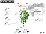 2020年01月11日の九州地方の実況天気