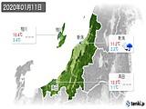 2020年01月11日の新潟県の実況天気