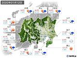 2020年01月12日の関東・甲信地方の実況天気