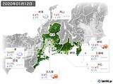 2020年01月12日の東海地方の実況天気