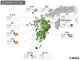 2020年01月12日の九州地方の実況天気