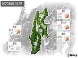 2020年01月12日の長野県の実況天気