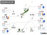 2020年01月12日の沖縄県の実況天気