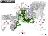 2020年01月13日の東海地方の実況天気