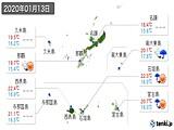 2020年01月13日の沖縄県の実況天気