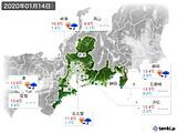 2020年01月14日の東海地方の実況天気