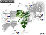 2020年01月14日の近畿地方の実況天気