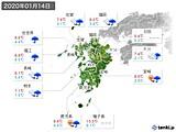 2020年01月14日の九州地方の実況天気