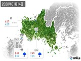 2020年01月14日の山口県の実況天気
