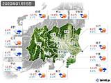 2020年01月15日の関東・甲信地方の実況天気
