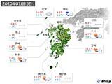 2020年01月15日の九州地方の実況天気