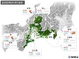 2020年01月16日の東海地方の実況天気