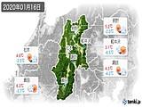 2020年01月16日の長野県の実況天気