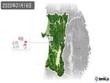 2020年01月16日の秋田県の実況天気