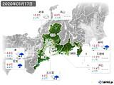 2020年01月17日の東海地方の実況天気