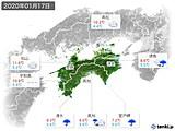2020年01月17日の四国地方の実況天気