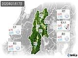 2020年01月17日の長野県の実況天気