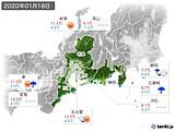 2020年01月18日の東海地方の実況天気