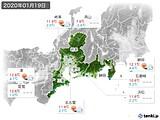 2020年01月19日の東海地方の実況天気