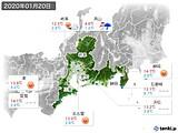 2020年01月20日の東海地方の実況天気