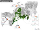 2020年01月21日の東海地方の実況天気