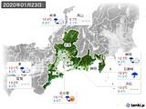 2020年01月23日の東海地方の実況天気
