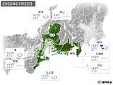 2020年01月25日の東海地方の実況天気