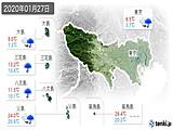 2020年01月27日の東京都の実況天気