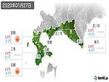 2020年01月27日の道南の実況天気