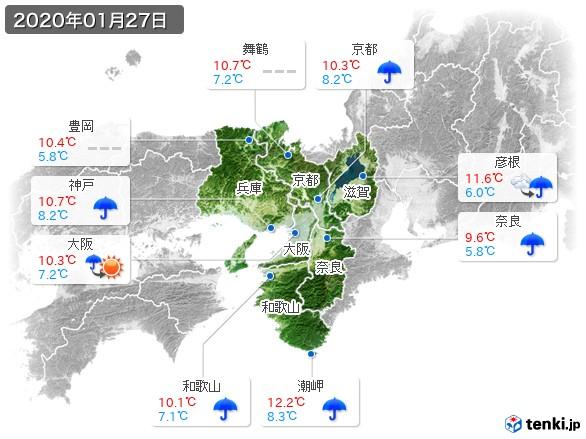 近畿地方(2020年01月27日の天気