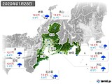2020年01月28日の東海地方の実況天気