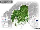 2020年01月28日の広島県の実況天気