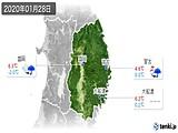 2020年01月28日の岩手県の実況天気