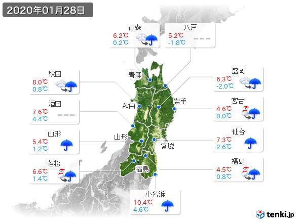 東北地方(2020年01月28日の天気