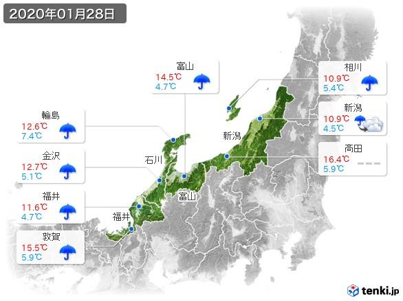 北陸地方(2020年01月28日の天気