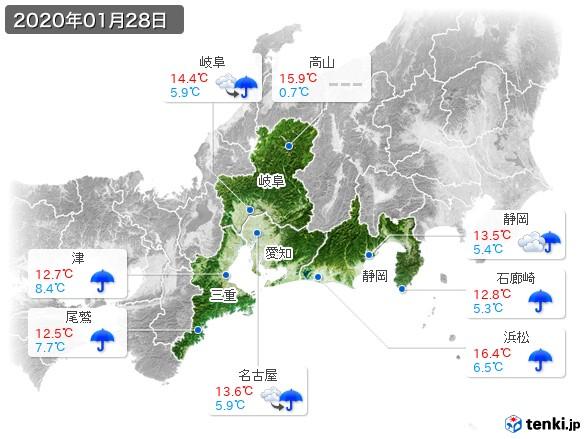東海地方(2020年01月28日の天気