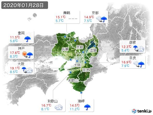 近畿地方(2020年01月28日の天気