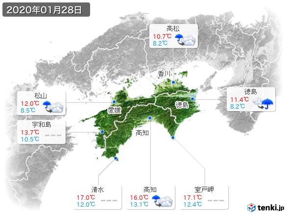 四国地方(2020年01月28日の天気