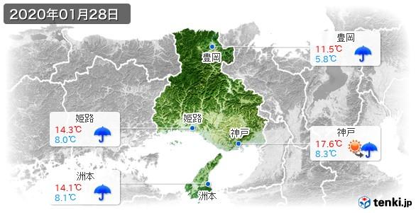 兵庫県(2020年01月28日の天気