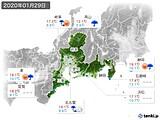 2020年01月29日の東海地方の実況天気