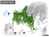 2020年01月29日の山口県の実況天気