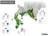 2020年01月29日の道南の実況天気