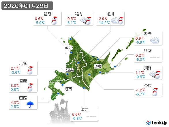 北海道地方(2020年01月29日の天気