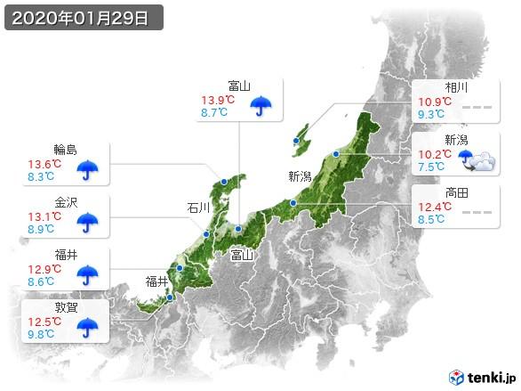 北陸地方(2020年01月29日の天気