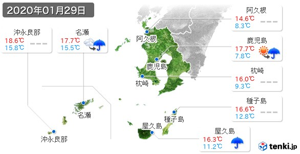 鹿児島県(2020年01月29日の天気