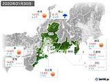 2020年01月30日の東海地方の実況天気