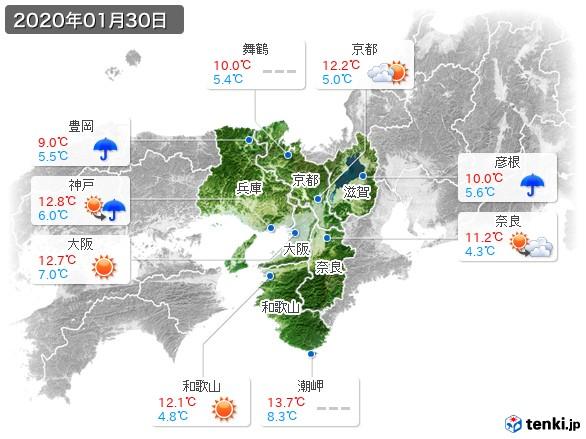 近畿地方(2020年01月30日の天気