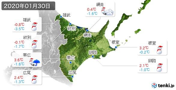 道東(2020年01月30日の天気