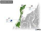 2020年01月31日の石川県の実況天気