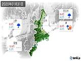 2020年01月31日の三重県の実況天気